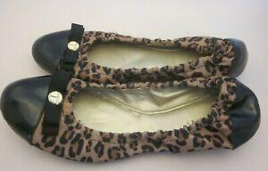 "Tahari ""Gibson"" Black Leopard Flats - Size 6 M - Patent Toe - Elastic Rim"