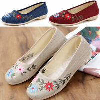 Womens Embroidered Floral Flats Maternity Cloth Shoes Breathable Comfort Summer