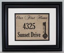 Our First Home, Street Address / Housewarming Gift on Burlap - Personalized