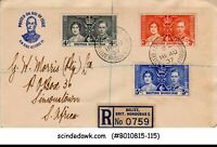 BRITISH HONDURAS - 1937 KGVI COROANTION - 3V - FDC REGISTERED