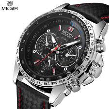 MEGIR Casual Mens Watches Top Brand Luxury Quartz-watch Leather Strap Wristwatch