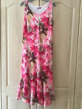 ROMAN ORIGINALS - Sleeveless Pink Fully Lined Floral Print Maxi Dress - Size 14