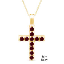 """1 Cttw Ruby Birthstone Cross Pendant Necklace 14k Yellow Gold Over Sterling 18"""""""