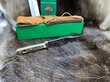 1983 Puma 6396 Bowie Knife With Stag Handles & Leather Sheath In G / Y Box Mint