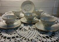 Freiberger Porzellan Porcelain Teacups And Saucers Set Of 5 / 1 Extra Saucer