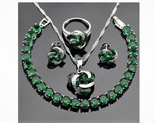 925 Silver Jewelry Sets Green Emerald Necklace Jewelry Set  #W6-85