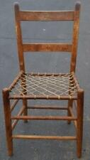 Interesting Solid Wood Ladder Back Side Chair - Rawhide Seat - RARE DESIGN