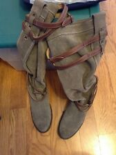 $398 Frye Jane Strappy Boots Fatigue/gray Suede Knee High Women Size 10 B