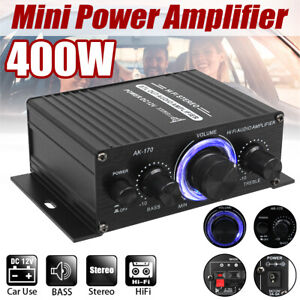 Mini Hifi 400W Car Amplifier with LED Light 2 Channel Stereo Audio Subwoofer Amp