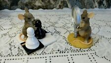 Charming Tails Sherlock Holmes Chess Magnifying Glass Figurines - (Lot Of 2)