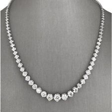 White Round Cut Diamond Studded White Gold Over Women Tennis Necklace 10.05CT