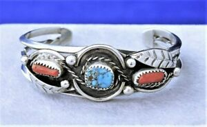 Sterling Silver Cuff Bracelet Turquoise Coral Native American Style Southwestern