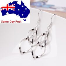 925 Sterling Silver Plated Long Twisted Drop Fashion Geometric Earrings