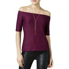 Guess Women's Off the Shoulder Textured Pointelle Pullover Top Blouse Purple L