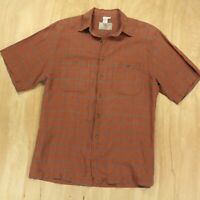 the TERRITORY AHEAD linen silk blend short sleeve shirt LARGE brown plaid