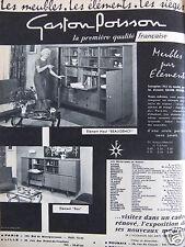 PUBLICITÉ 1962 GASTON POISSON LES MEUBLES LES ÉLÉMENTS LES SIÈGES - ADVERTISING