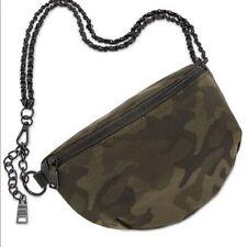 Steve Madden Mandie Belt Bag Fanny Pack Crossbody Black Chain Strap Zip New