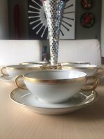 Set Of 5 OLD COLONY BY SYRACUSE CHINA CREAM SOUP BOWL & SAUCER GOLD TRIM Vintage