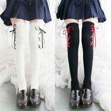 Women Lolita Stockings Leggings Kawaii Over Knee Cross Ribbon Socks Cosplay