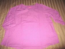 NEW! Purple Swiss Polka Dot 22/24 3X Peasant Blouse Plus Oversized Shirt FB