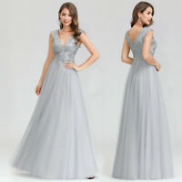 Ever-Pretty US Grey V-Neck Long Bridesmaid Prom Dresses Cocktail Party Ball Gown