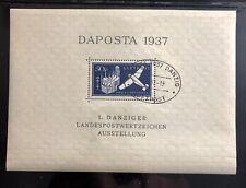 Danzig Souvenir Sheet 1937 Pristine MNH OG Fresh ! CV 80 Euro