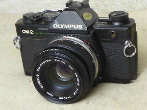 Olympus OM2 Spot Program Film Camera + 50mm zuiko lens f1.8 fully tested