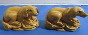 2 VINTAGE CELLULOID CARVED DOGS BROWN NICE DETAIL JAPAN??