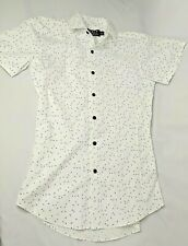 Topman Mens Size XS White Black Speckled Short Sleeve Stretch Skinny Fit