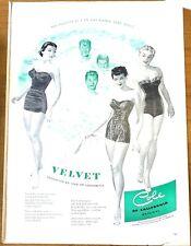 1950 Cole Of California Velvet Swim Suit Print Ad Vintage Original