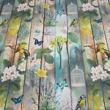 Stoff Meterware Vogel Schmetterling bunt Shabby Holzwand Digitaldruck Neu