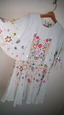 new soldout asos embellished sequin flutter sleeve chiffon layer dress us 12