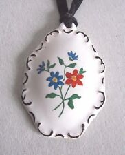 Painted Necklace Hand Porcelain Flower Pendant Vintage Flowers Red Blue Green