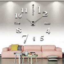 Design Wanduhr silber 100 cm 3D XXXL Uhr Moderne Selbst gestaltbare