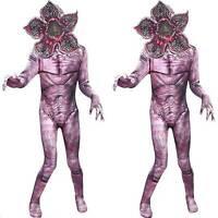 Kids Stranger Things Demogorgon Halloween Cosplay Monster Jumpsuit+Mask Outfits