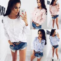 US Fashion Ladies Casual Tops T-Shirt Women Summer Loose Long Sleeve Blouse
