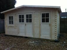 5 by 2.5 meter Log cabin with side lawn mower / tool store, we can make any size