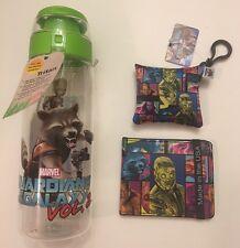 Marvel Lot:Guardians Galaxy Vol. 2: Rocket & Groot Water Bottle+Keychain+Wallet!