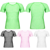 Herren T-Shirt Netzhemd transparente Kurzarm Netz Shirt Top Oberteil Clubwear
