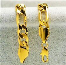 24k Gold Bracelets Men's Figaro Wide Cuban Chain Link +Gift Pouch D471