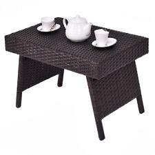 Folding Wicker Rattan Side Coffee Table Patio Square Garden Outdoor Furniture