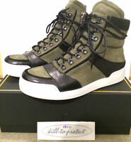 BALMAIN x H&M LEATHER SUEDE TRAINER Sz US UK 6.5 7 8 9 10.5 KHAIKI High Top 2015