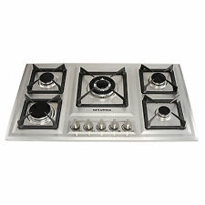 34in. Stainless Steel Built-in 5 Burner LPG/NG Gas Hob Cooktop for Kitchen