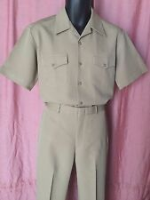 USN-KHAKI  UNIFORM - SHIRT SIZE ML,PANTS  35 x 31 - CNT CLOTH (100% POLYESTER)
