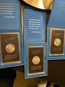 Lot Of 3 Carson City Uncirculated Silver Dollars 1882 1883 1884
