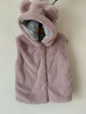 Girls Next Age 4-5 Fluffy Pink Waistcoat Bodywarmer Sleeveless Coat
