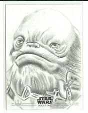 Topps Star Wars Rogue One Series 2 Weeteef Cyubee Sketch Card by Brett Farr