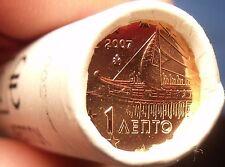 Gem Unc Original Roll (50) Greece 2007 1 Euro Cents~Ancient Athenian Trireme~F/S