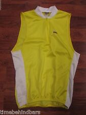 VINTAGE DAVE SCOTT ARENA SLEEVELESS 1/4 ZIP CYCLING JERSEY LARGE YELLOW WHITE