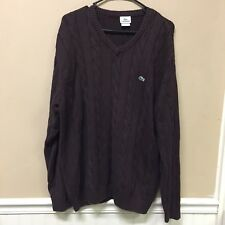 Lacoste Men's Cable Knit Pullover Long Sleeve Sweater Jumper Size 7 XL Brown